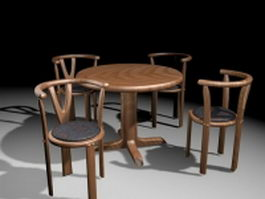 Round casual dining sets 3d model preview