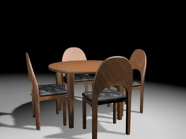 Round 5 piece dinette set 3d rendering