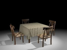 Small kitchen dinette sets 3d model preview