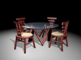 Round glass top dining sets 3d model preview