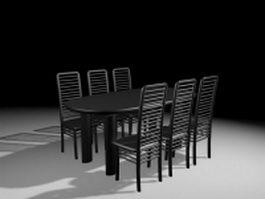 Black dining room sets 3d model preview