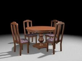 Antique round dinette sets 3d model preview
