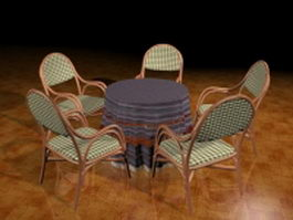 Round patio dining sets 3d model preview