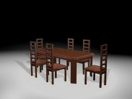 Traditional formal dining sets 3d model preview