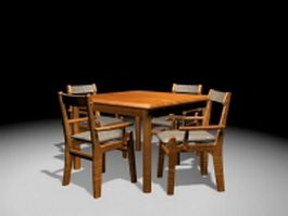 Retro kitchen dinette sets 3d model preview