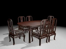Antique carved wood dining room set 3d preview