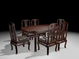 Antique carved wood dining room set 3d model preview
