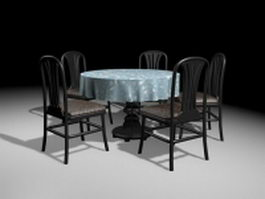 Black wood round dining sets 3d preview