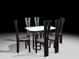 Modern dining table set 3d preview