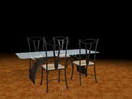 Black metal dining set 3d preview
