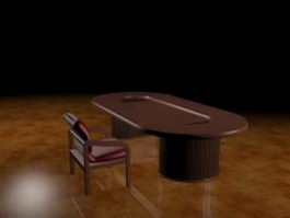 Office conference table and chair 3d preview