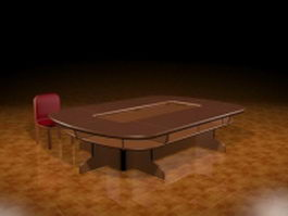 Racetrack conference table and chair 3d preview