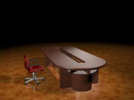 Oval conference room table and chair 3d preview