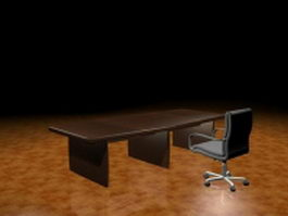 Executive desk and chair 3d preview