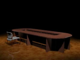 Large conference table and chair 3d preview
