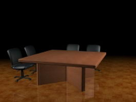 Small conference table and chairs 3d preview