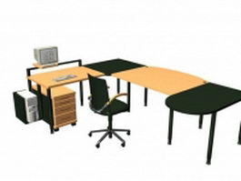 Office desk furniture sets 3d preview