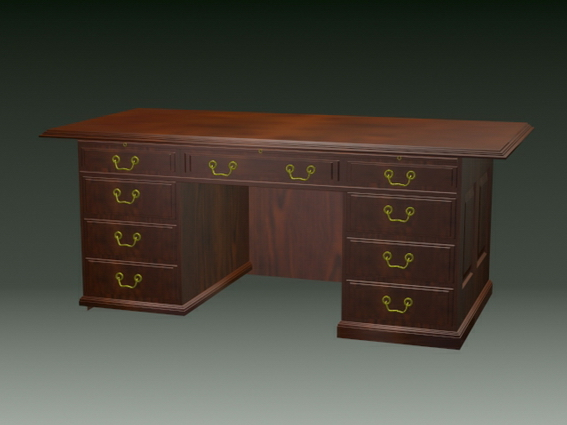 Vintage office desk 3d rendering