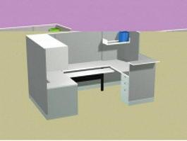 Office workstation 3d model preview