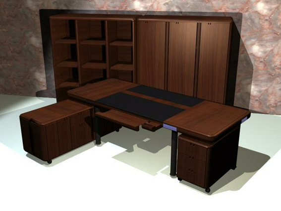 Executive office furniture sets 3d rendering