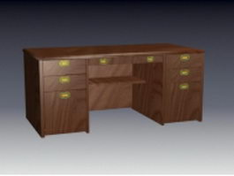 Vintage office table 3d preview