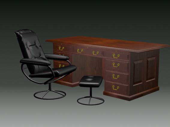 Home office desk sets 3d rendering