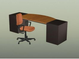 Office workbench and chair 3d model preview