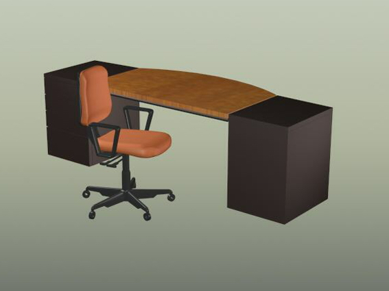 Office workbench and chair 3d rendering