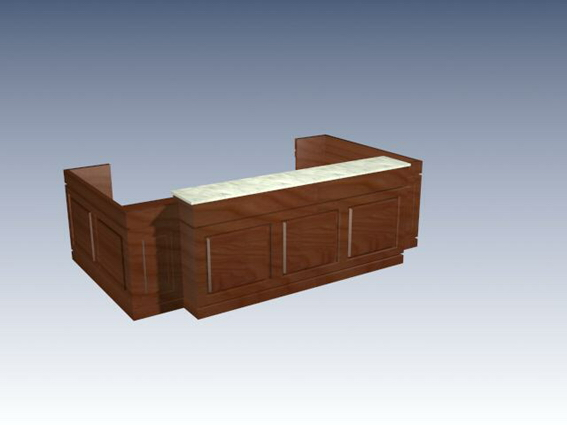 Office reception desk 3d rendering