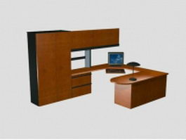 Office workstation with wall units 3d preview