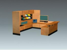 Wood office cubicle 3d model preview