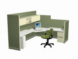 L shaped office cubicle 3d preview