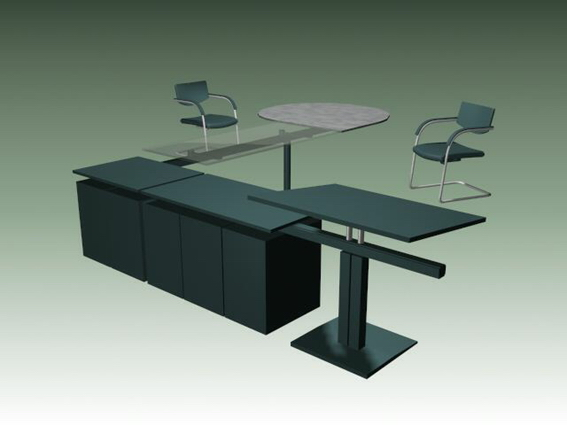 Metal office desk workstation and chairs 3d rendering