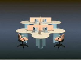 Office workstation furniture 3d preview