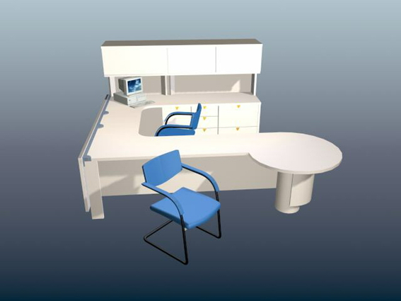 Executive office workstation 3d rendering