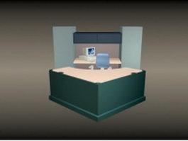 Office front desk furniture 3d preview