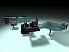 Modern glass workstation 3d model preview