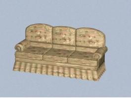 Retro sofa 3d model preview