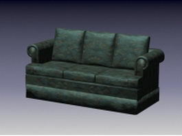 Dark green fabric sofa 3d preview