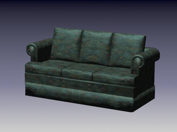 Dark green fabric sofa 3d rendering
