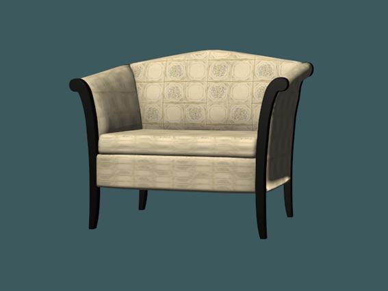 Fabric armchair 3d rendering