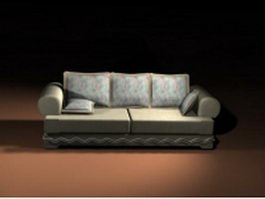 Loveseat with throw pillow 3d preview