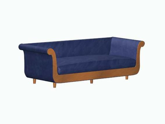 Blue velvet sofa 3d rendering