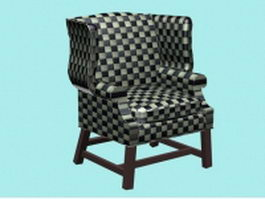 Plaid wing chair 3d preview