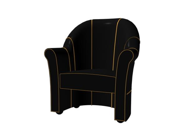Black tub chair 3d rendering
