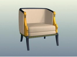 Striped upholstered chair 3d preview