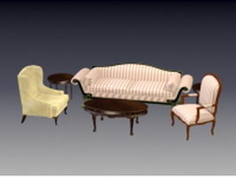 Vintage living room furniture sets 3d preview