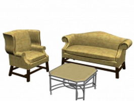 3 Piece living room set 3d preview