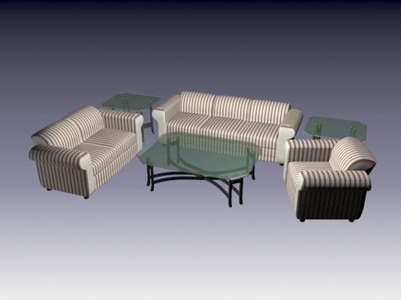6 Piece living room set 3d rendering