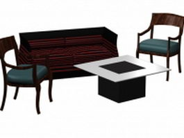 Loveseat and chair sets 3d preview